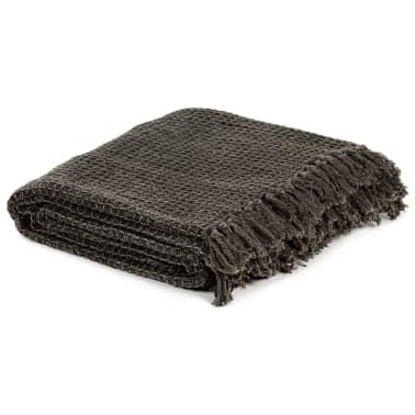 vidaXL Filt bomull 160x210 cm antracit/brun[2/6]