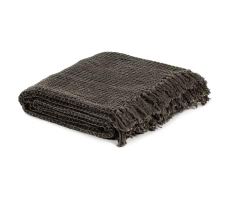 vidaXL Filt bomull 220x250 cm antracit/brun[2/6]
