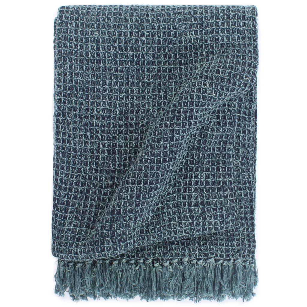 Přehoz bavlna 220 x 250 cm indigově modrý