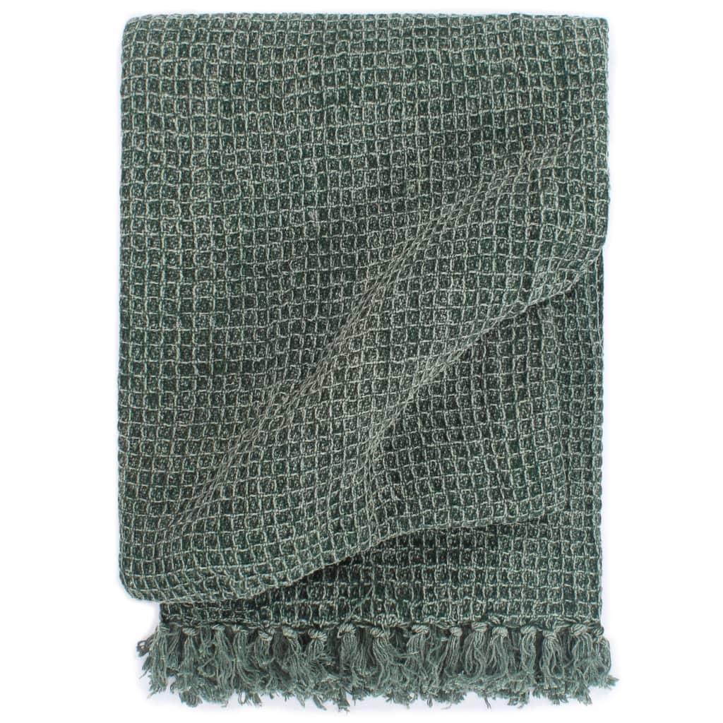 vidaXL Pătură decorativă, verde închis, 125 x 150 cm, bumbac poza vidaxl.ro