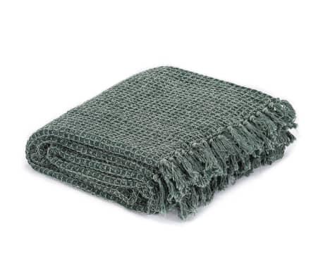 vidaXL Filt bomull 125x150 cm mörkgrön[2/5]