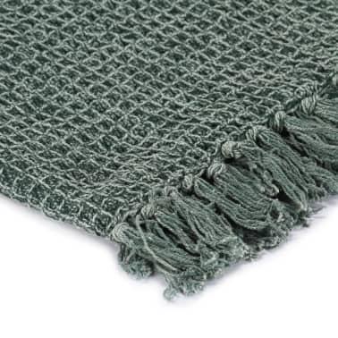 vidaXL Filt bomull 125x150 cm mörkgrön[3/5]