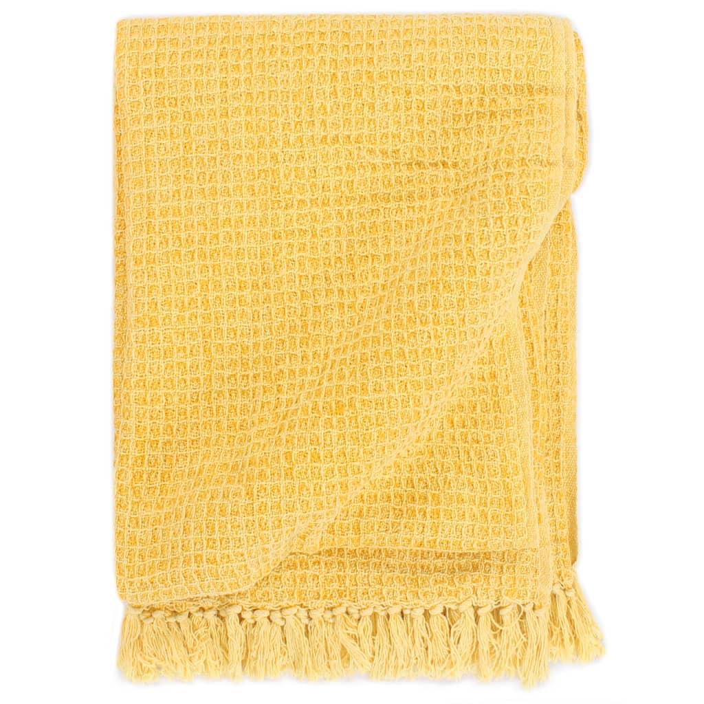 Přehoz bavlna 125 x 150 cm hořčicově žlutý