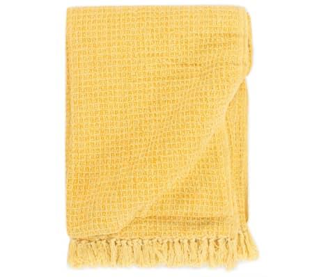 vidaXL Deka 160x210 cm horčicovo-žltá bavlnená