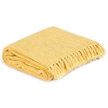 vidaXL Filt bomull 160x210 cm senapsgul[2/5]