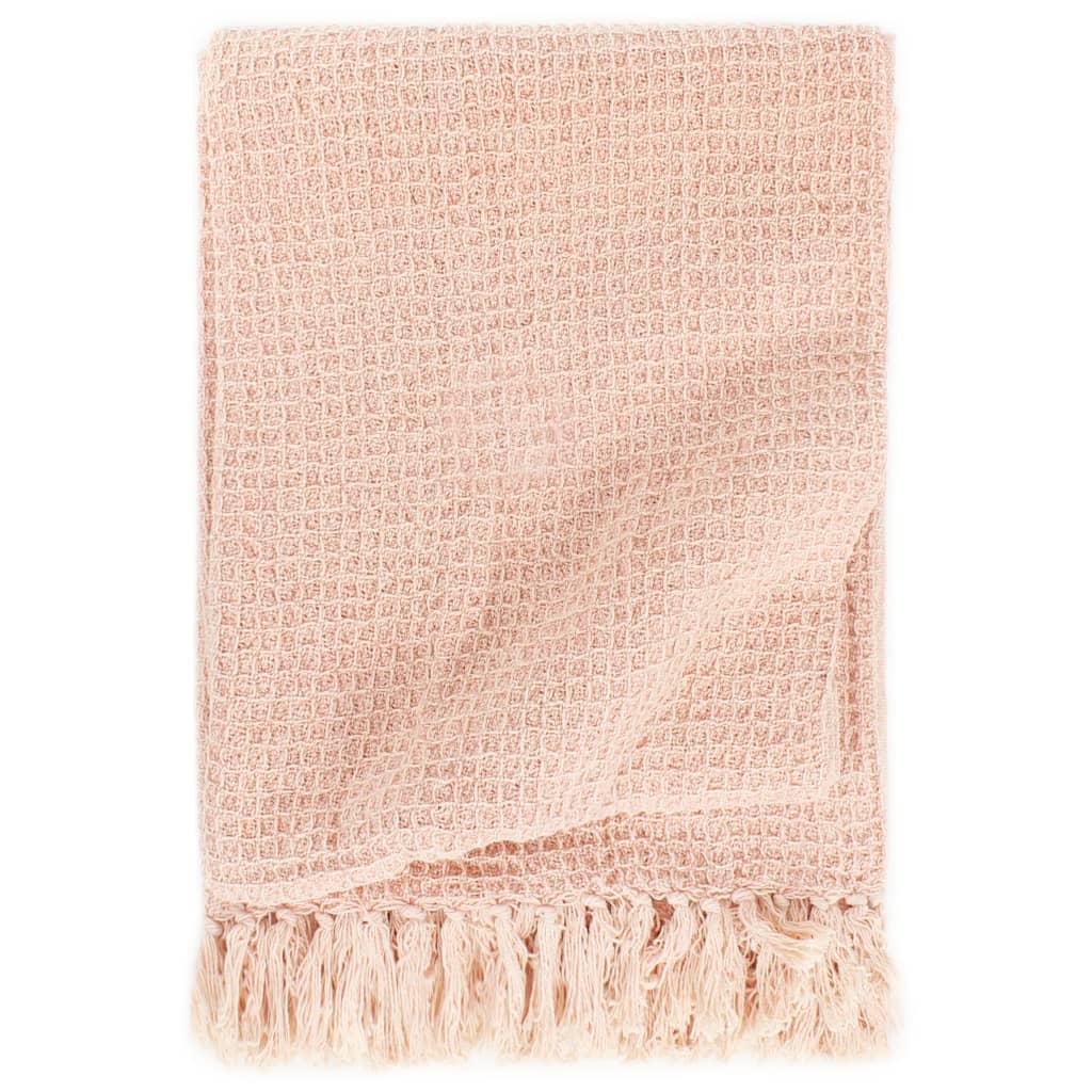 Přehoz bavlna 125 x 150 cm stará růžová