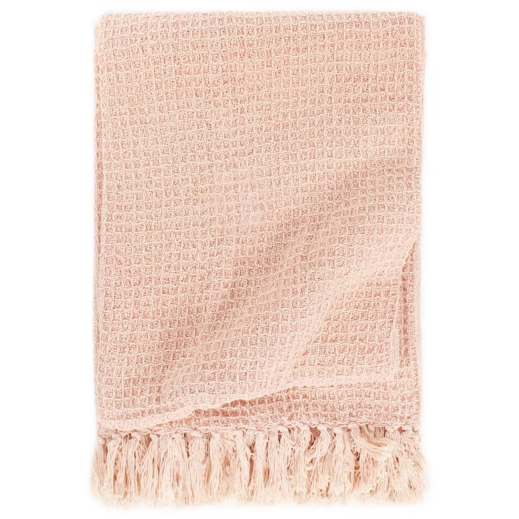 Přehoz bavlna 160 x 210 cm stará růžová