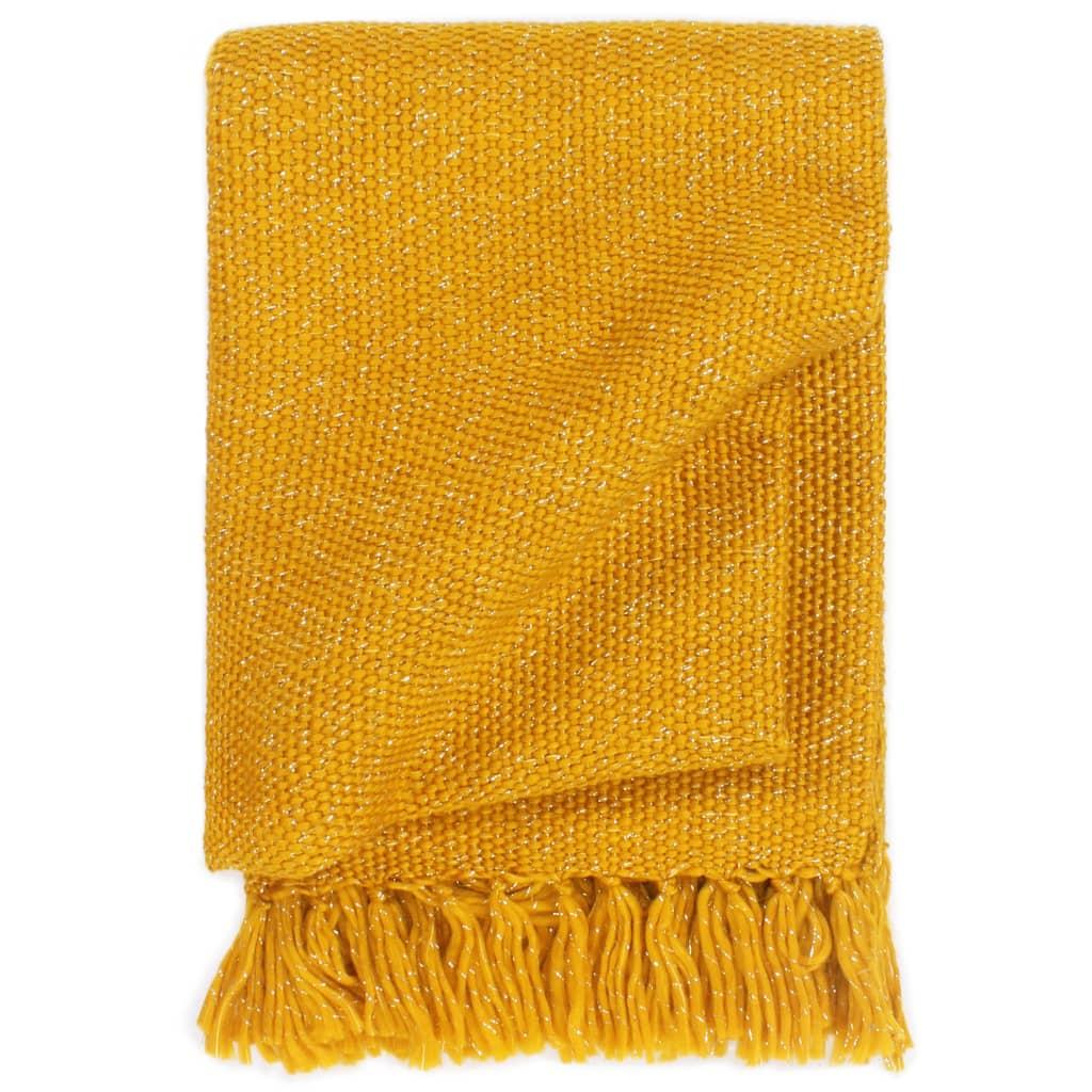 Přehoz lurex 160 x 210 cm hořčicově žlutý