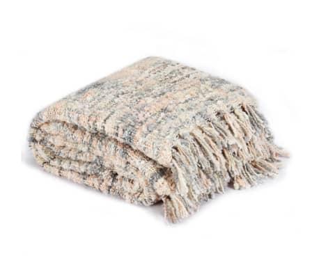 vidaXL Filt 125x150 cm rosa/vit/grå[2/5]