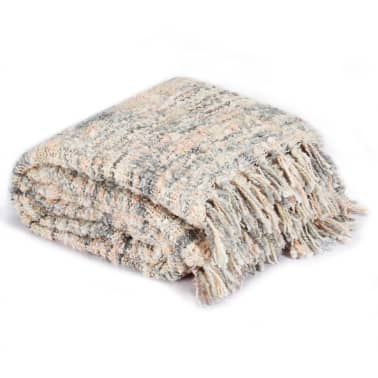 vidaXL Filt 160x210 cm rosa/vit/grå[2/5]