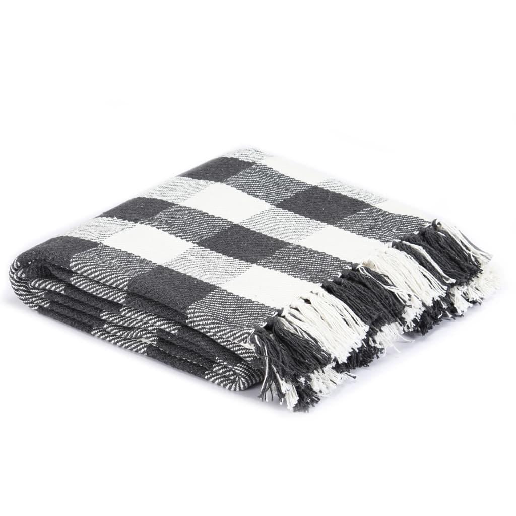 vidaXL Přehoz bavlna károvaný 160 x 210 cm antracitový