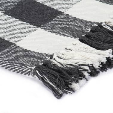 vidaXL Filt bomull rutig 160x210 cm antracit[3/5]