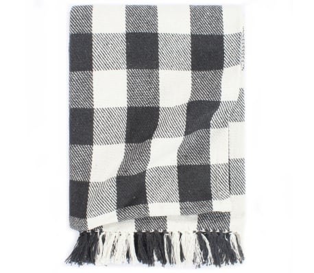 vidaXL Throw Cotton Check 220x250 cm Anthracite