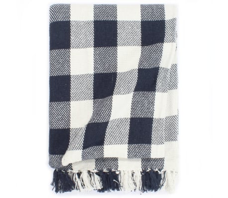 vidaXL Throw Cotton Check 160x210 cm Navy Blue
