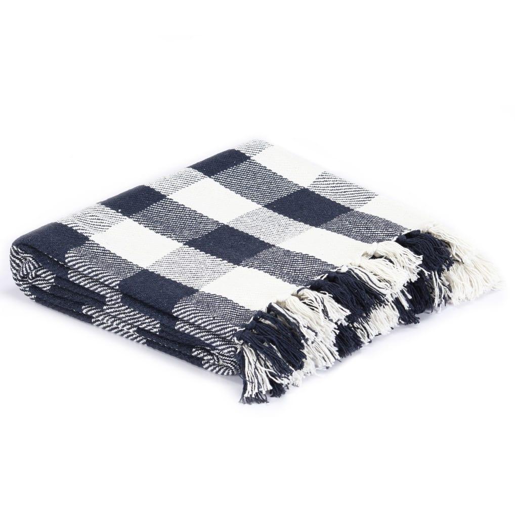 vidaXL Přehoz bavlna károvaný 220 x 250 cm námořnicky modrý