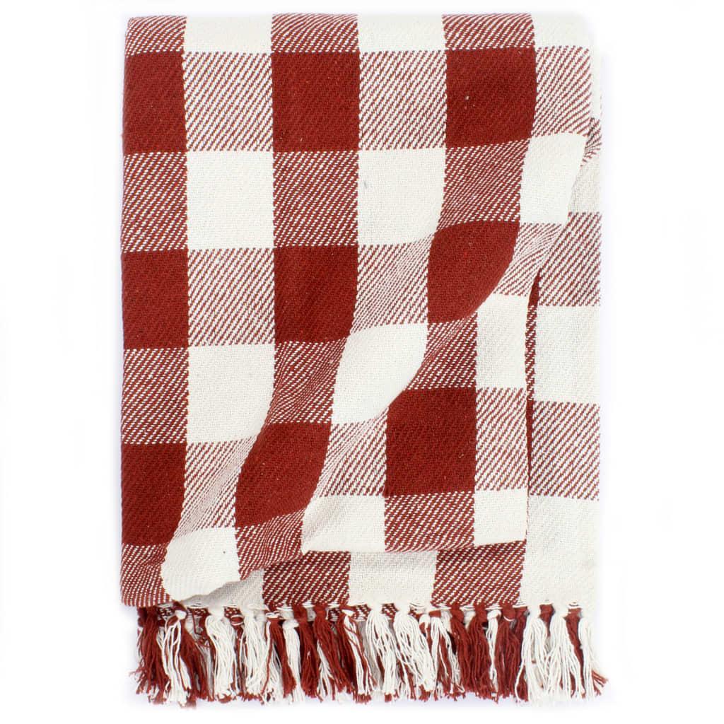 Přehoz bavlna károvaný 125 x 150 cm rubínově rudý
