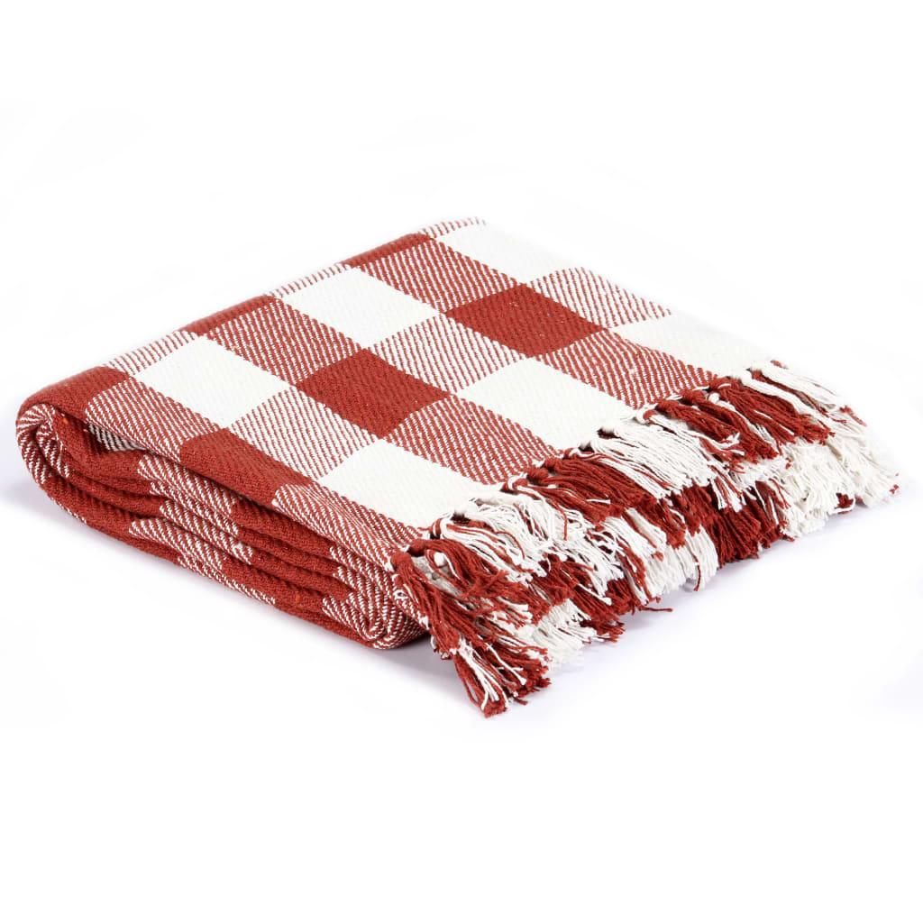 vidaXL Přehoz bavlna károvaný 220 x 250 cm rubínově rudý
