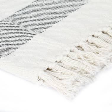 vidaXL Filt bomull randig 125x150 cm antracit[3/5]