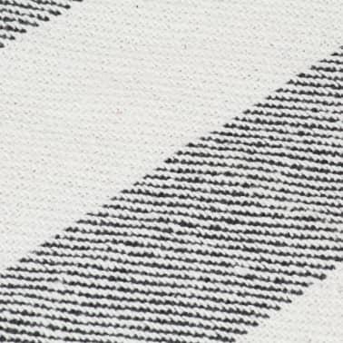 vidaXL Filt bomull randig 160x210 cm antracit[5/5]