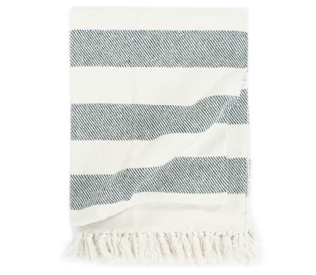 vidaXL Throw Cotton Stripe 125x150 cm Dark Green