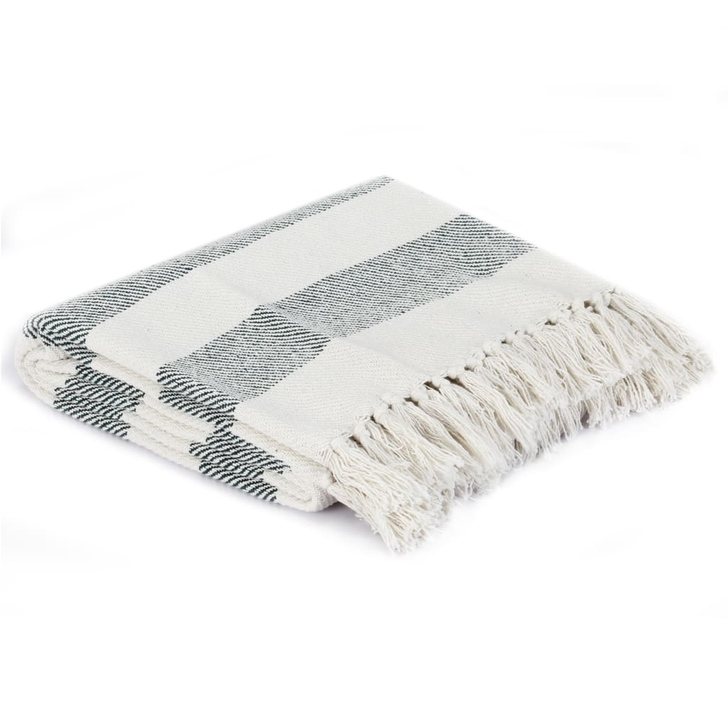 vidaXL Přehoz bavlna pruhovaný 160 x 210 cm tmavě zelený