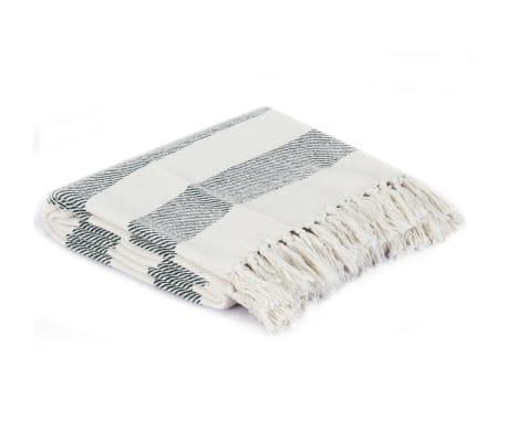 vidaXL Filt bomull randig 160x210 cm mörkgrön[2/5]