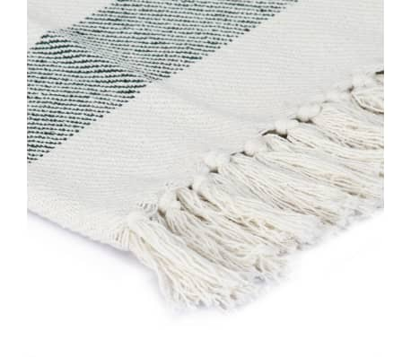 vidaXL Filt bomull randig 160x210 cm mörkgrön[3/5]