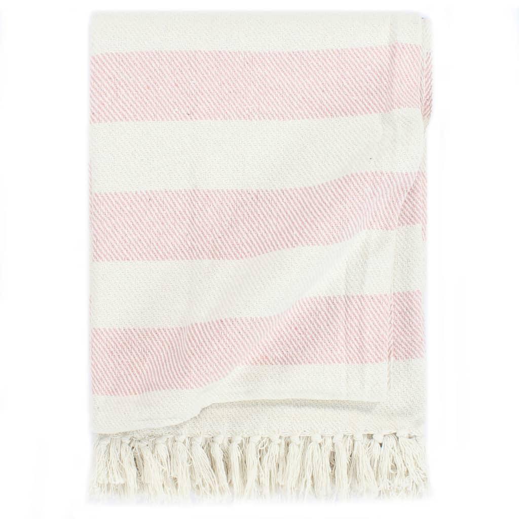 vidaXL Pătură decorativă, roz învechit, 125 x 150 cm, bumbac, dungi poza 2021 vidaXL