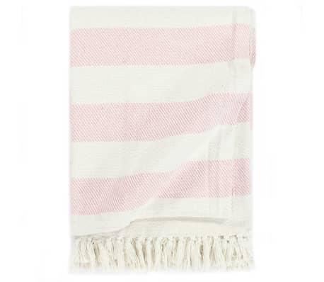vidaXL Декоративно одеяло, памук, ивици, 125x150 см, бледорозово