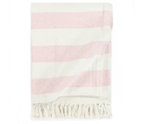vidaXL Throw Cotton Stripe 160x210 cm Old Pink