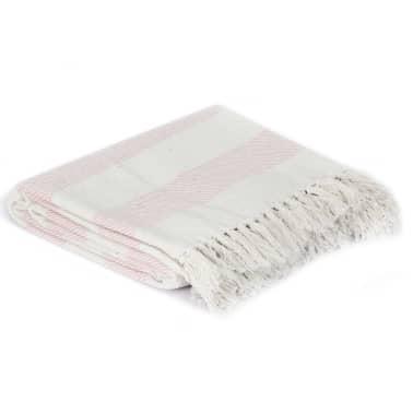 vidaXL Filt bomull randig 160x210 cm gammelrosa[2/5]