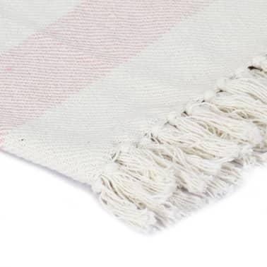 vidaXL Filt bomull randig 160x210 cm gammelrosa[3/5]