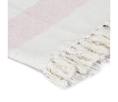 vidaXL Filt bomull randig 220x250 cm gammelrosa[3/5]