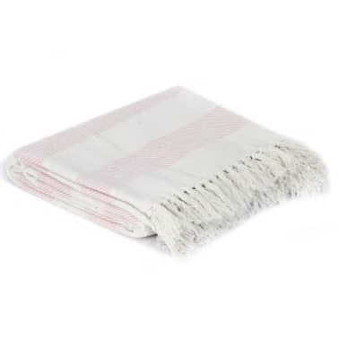 vidaXL Filt bomull randig 220x250 cm gammelrosa[2/5]
