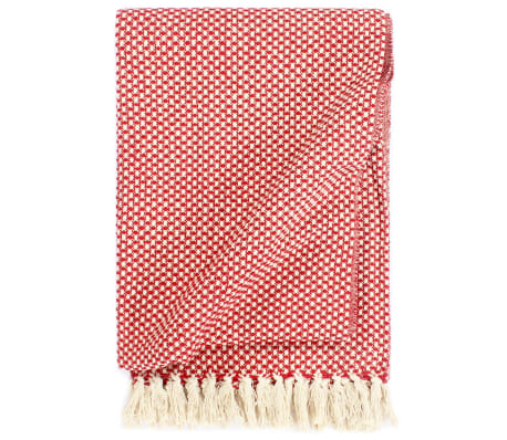 vidaXL Throw Cotton 125x150 cm Red