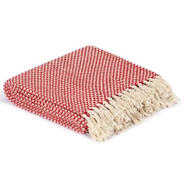 vidaXL Filt bomull 125x150 cm röd[2/5]