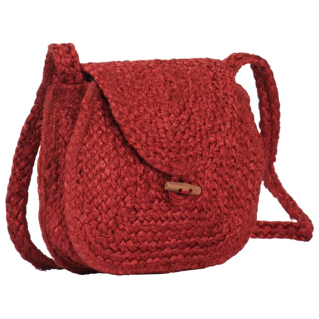 vidaXL Taška přes rameno červená ručně vyrobená juta