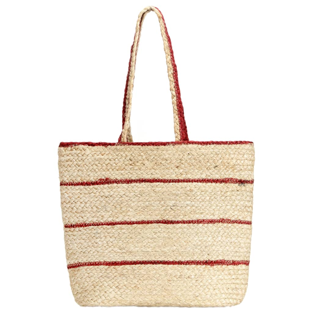 Nákupní taška přírodní rezavě červené pruhy ručně vyrobená juta