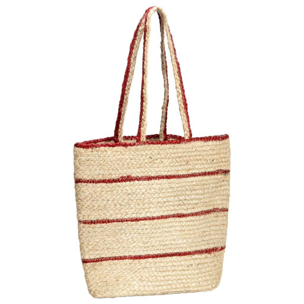 vidaXL Nákupní taška přírodní rezavě červené pruhy ručně vyrobená juta
