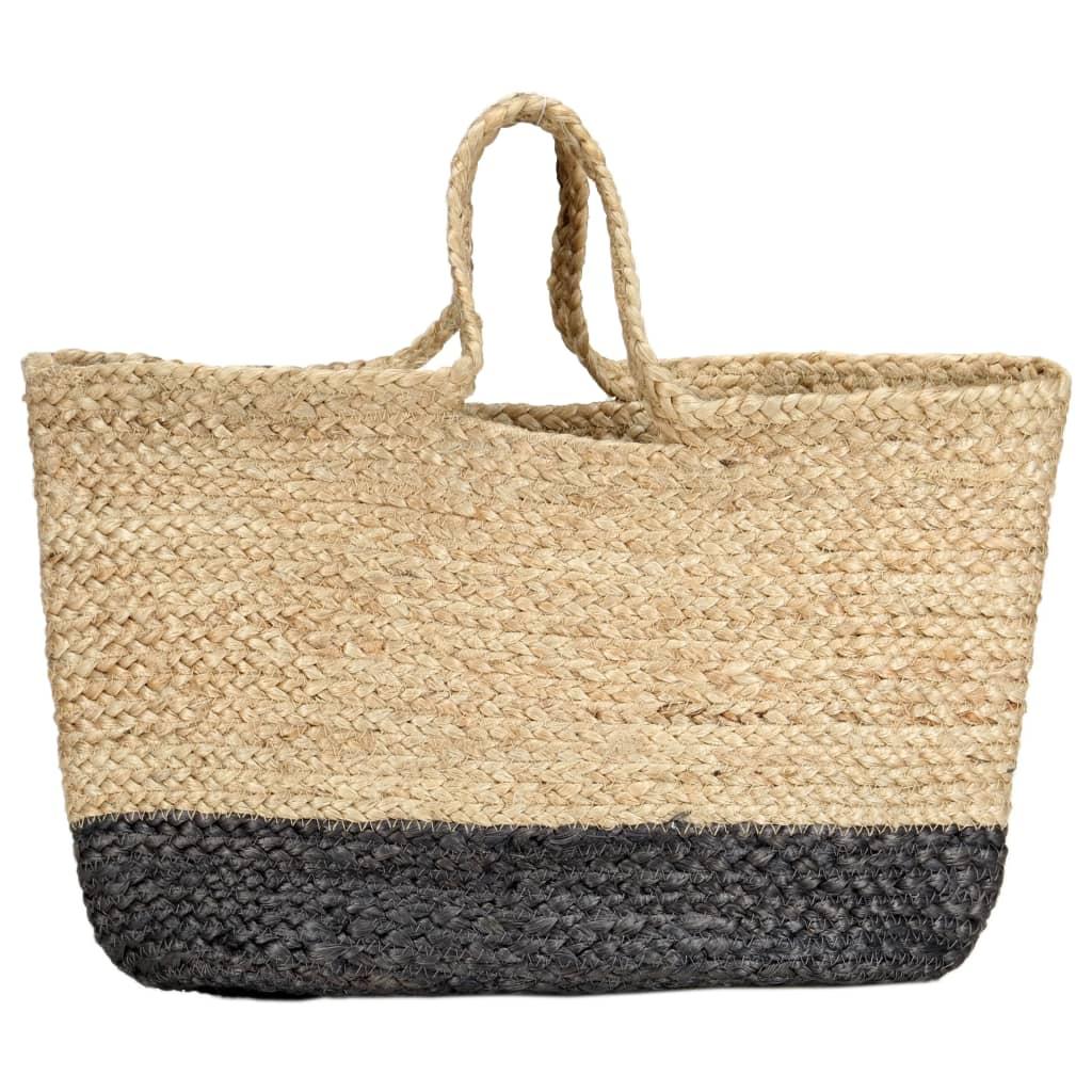 Nákupní taška přírodní s tmavě šedou ručně vyrobená juta