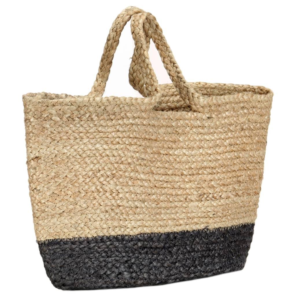vidaXL Nákupní taška přírodní s tmavě šedou ručně vyrobená juta