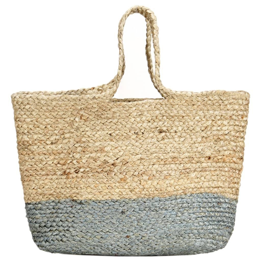 Nákupní taška přírodní s olivově zelenou ručně vyrobená juta