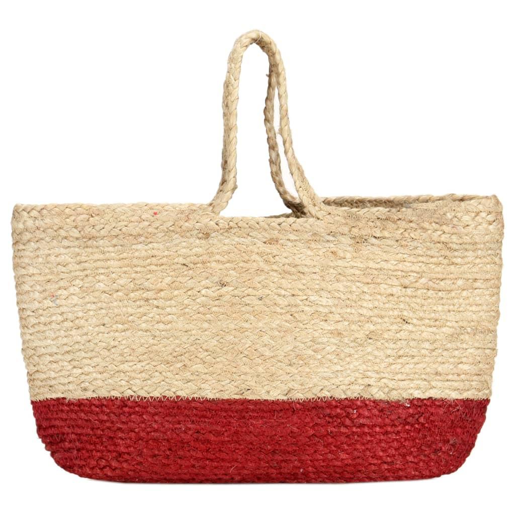 Nákupní taška přírodní a rezavě červená ručně vyrobená juta