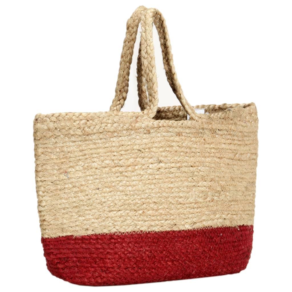 vidaXL Nákupní taška přírodní s rezavě červenou ručně vyrobená juta