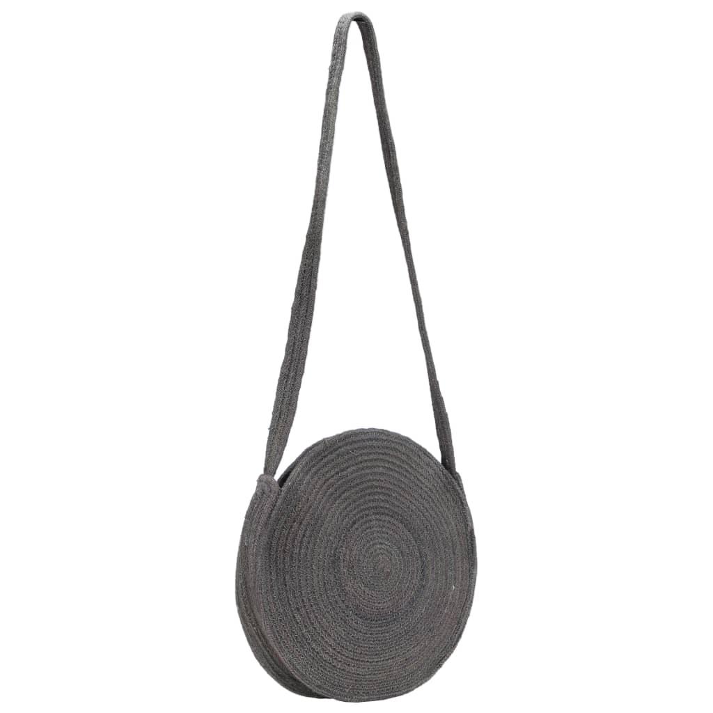 vidaXL Kulatá taška přes rameno tmavě šedá ručně vyrobená juta