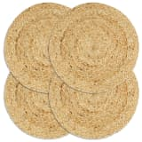 vidaXL Placemats 4 pcs Plain Natural 38 cm Round Jute