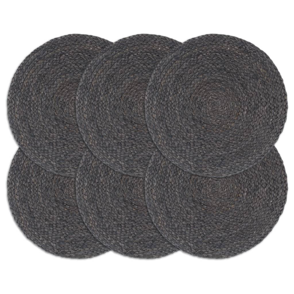 Prostírání 6 ks tmavě šedé 38 cm kulaté juta