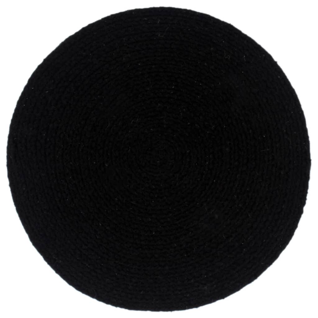 vidaXL Placemats 4 st rond 38 cm katoen effen zwart