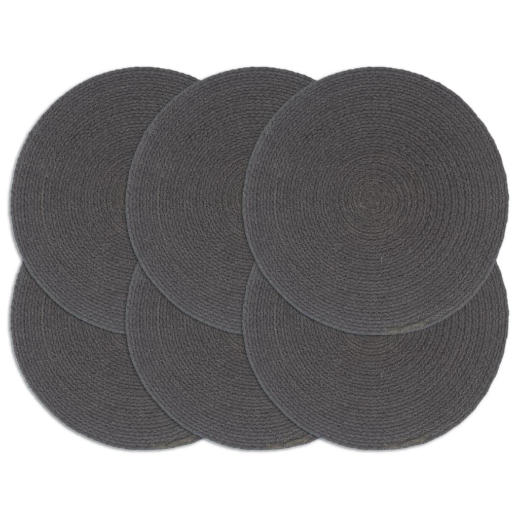 vidaXL Prostírání 6 ks tmavě šedé 38 cm kulaté bavlna