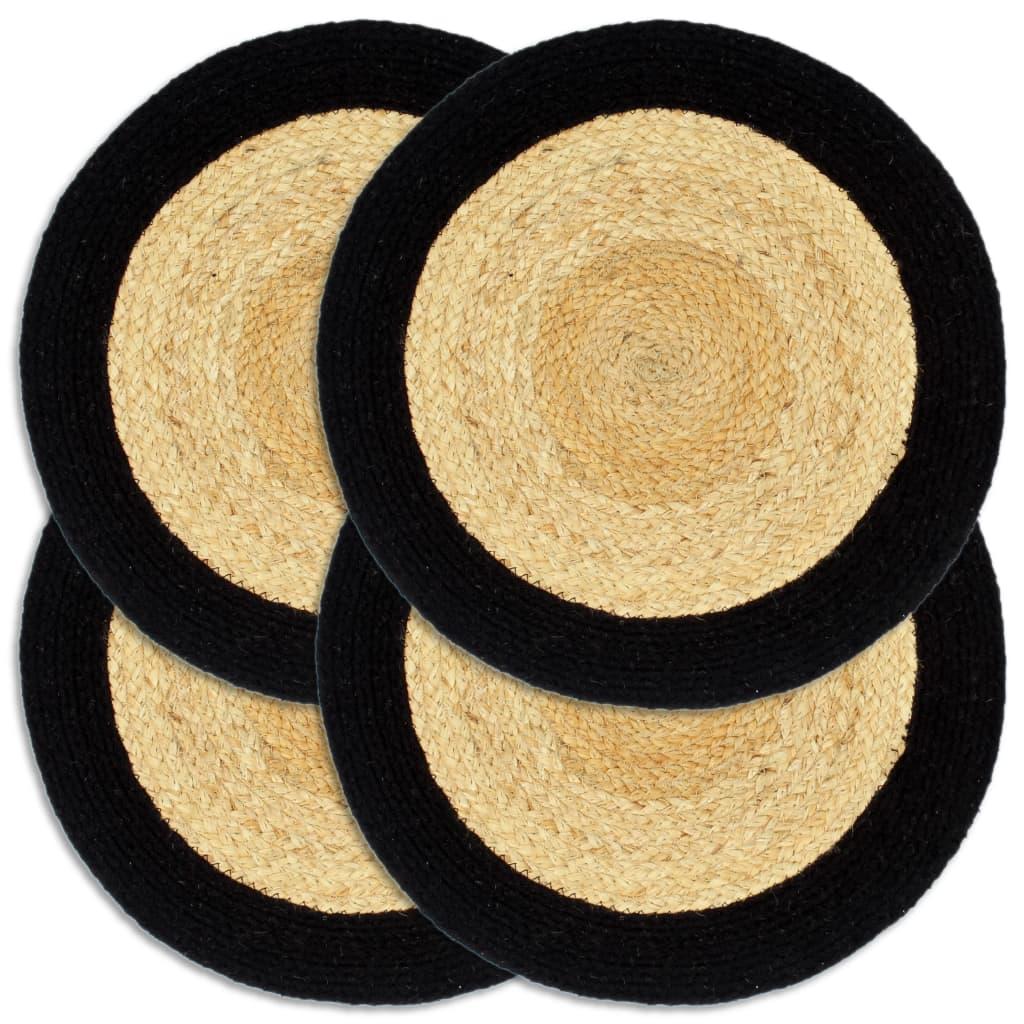 Prostírání 4 ks přírodní a černé 38 cm juta a bavlna